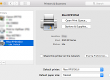 Mac OS X Printers & Scanners Panel Showing a Riso RP Printer